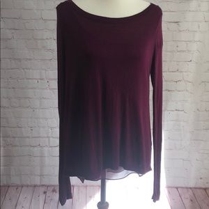 Express long sleeve sweater with sheer underlay